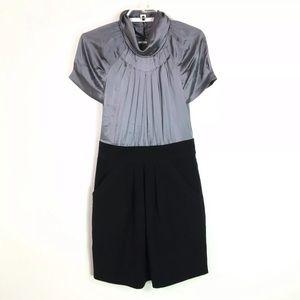 BCBGmaxazria Gray Silk Blouse Dress Pockets